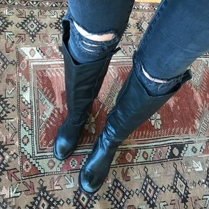 Shoes - Moto / cowboy Knee high black leather boots